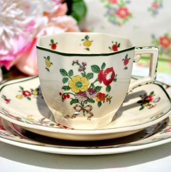 Royal Doulton Old Leeds Sprays Teacup Trio c.1930s