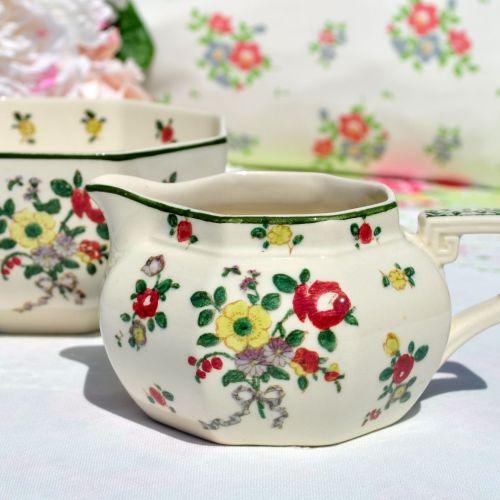 Royal Doulton Old Leeds Sprays Milk Jug and Sugar Bowl Set