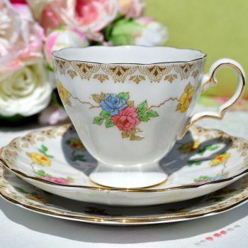 Grosvenor China Vintage Floral Teacup Trio c.1930s