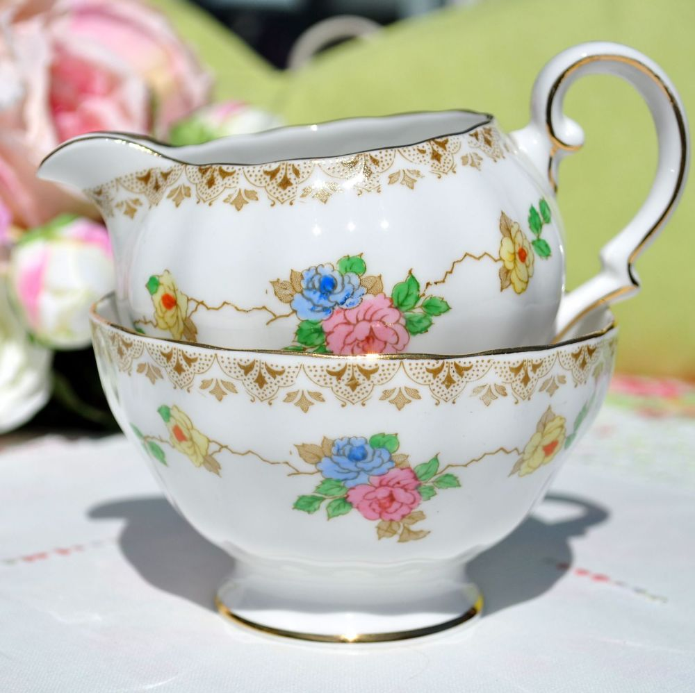 Grosvenor China Floral Milk Jug & Sugar Bowl c.1930s
