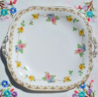Grosvenor China Vintage Floral Cake Plate c.1930s