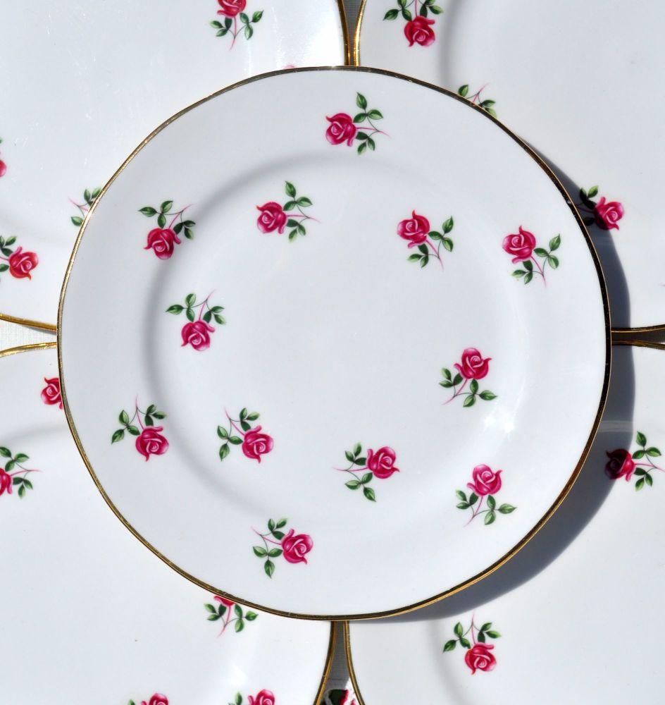 Colclough Fragrance Ditsy Pink Roses 16cm Plates Set