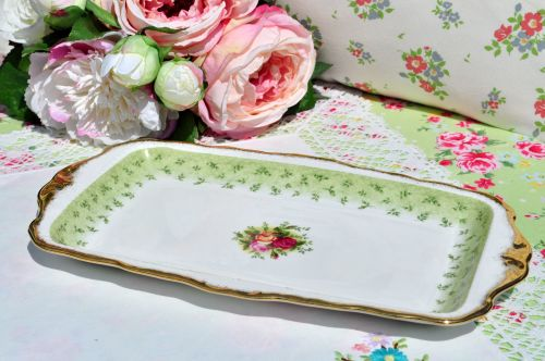 Royal Albert Old Country Roses Green Sandwich Tray c.1960s