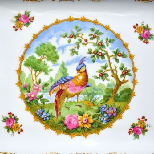 Central Colourful Bird and Flowers Panel