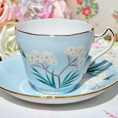 Royal Grafton Pale Blue Floral Teacup and Saucer. c.1950s