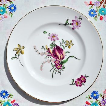 Crown Staffordshire Floral 21cm Salad Plates Set c.1970s