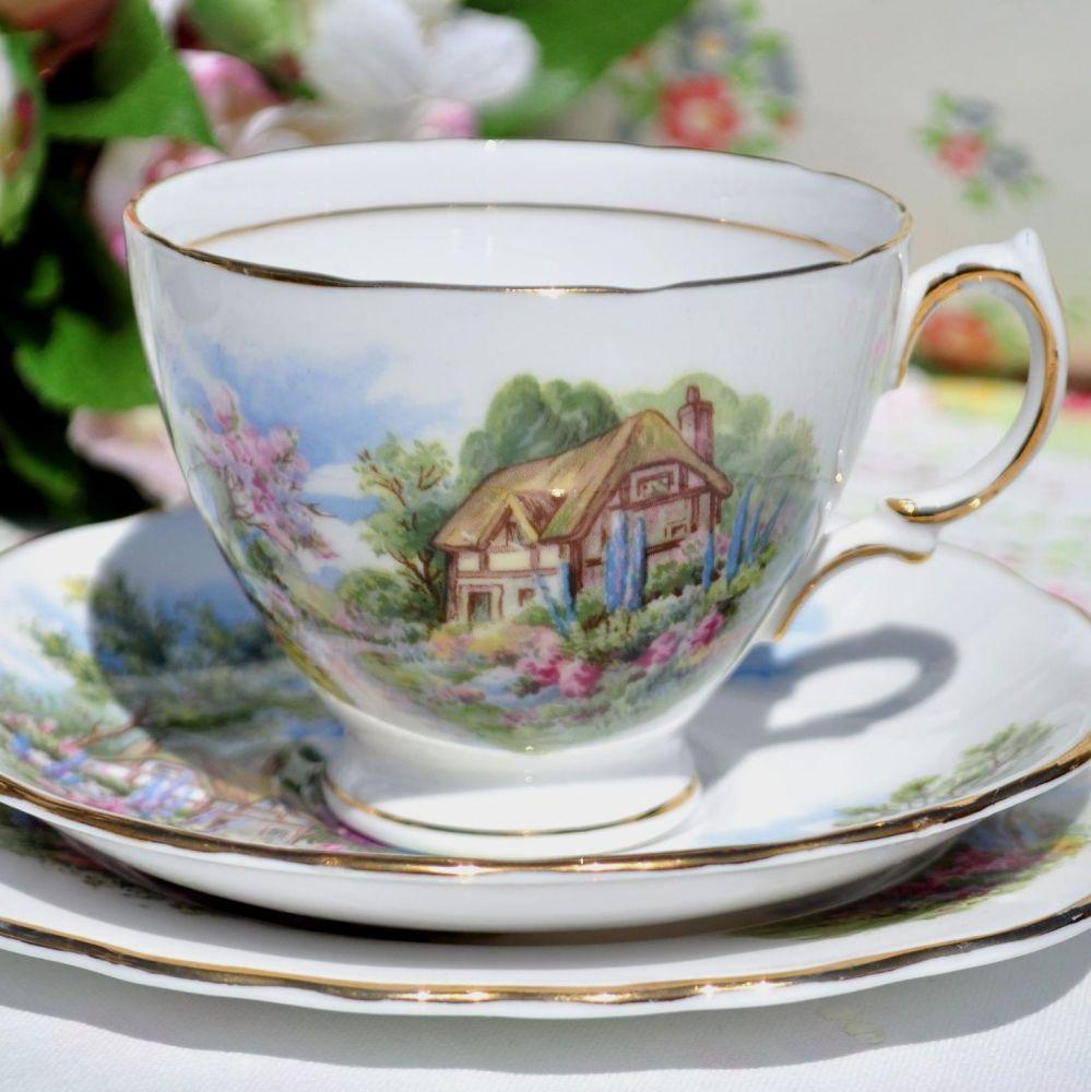 Royal Vale Homestead Pattern Vintage China Teacup Trio c.1950s