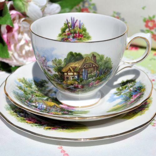 Royal Vale Country Cottage Pattern Vintage China Teacup Trio c.1960s