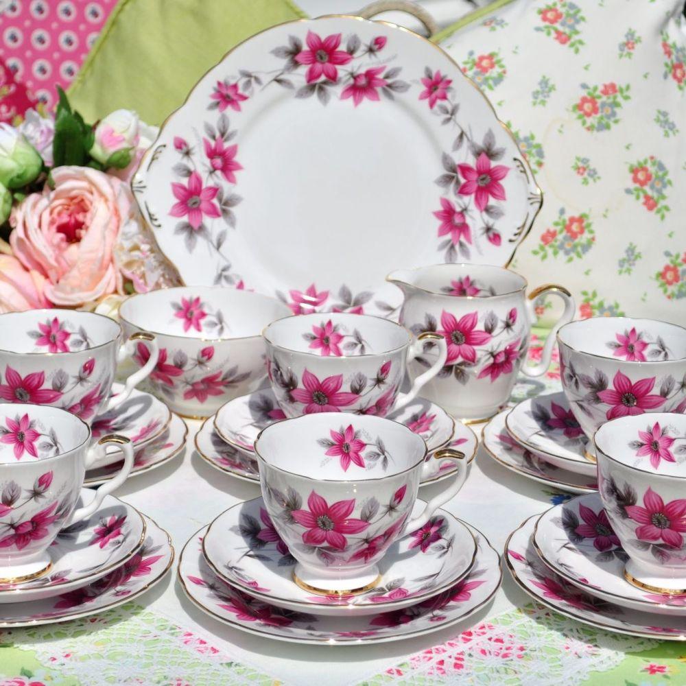 Royal Stafford Clematis Pattern Vintage 21 Piece Tea Set c.1950s