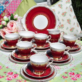 Royal Stafford Ruby Red and Gold Filigree 21 Piece Tea Set c.1960s