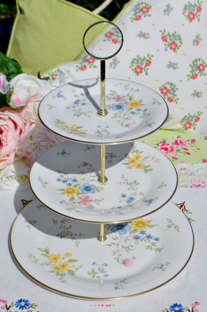 Royal Doulton Elegy Floral China 3 Tier Cake Stand