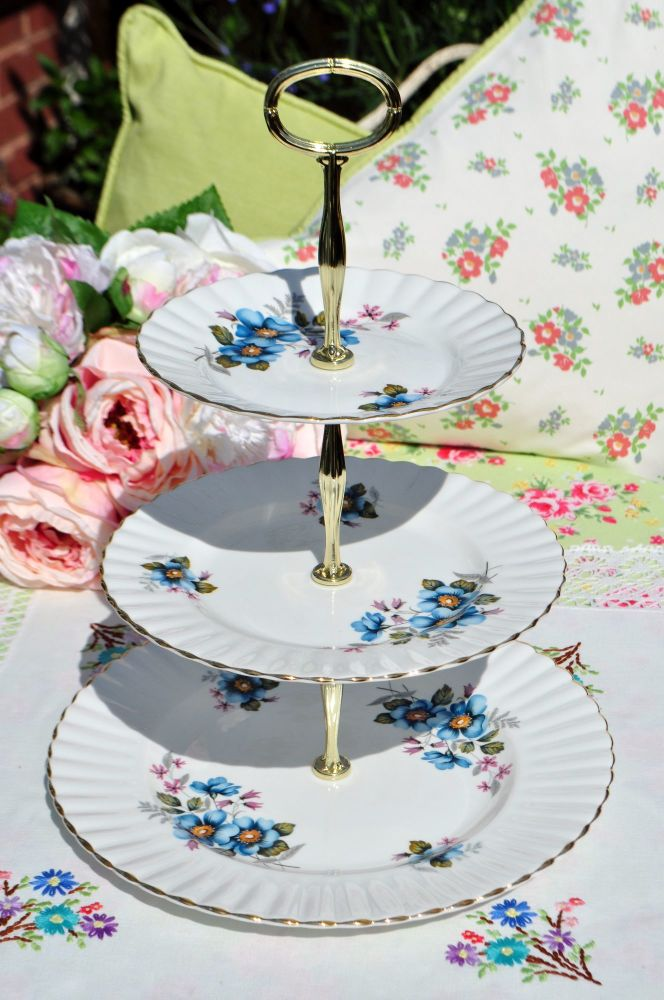 Royal Imperial Blue Wild Rose 3 Tier Cake Stand