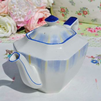 Royal Grafton Art Deco Cobalt Blue Rim Teapot c.1935+