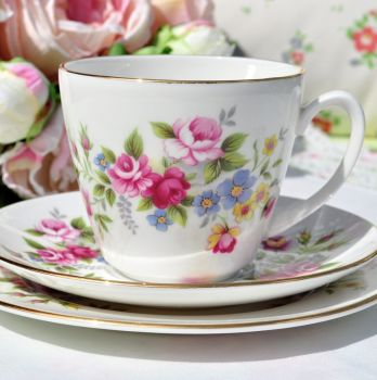 Royal Grafton Floral Vintage China Teacup Trio c.1957+