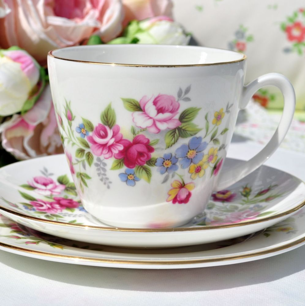 Royal Grafton Vintage Floral Bone China Teacup Trio c.1957+