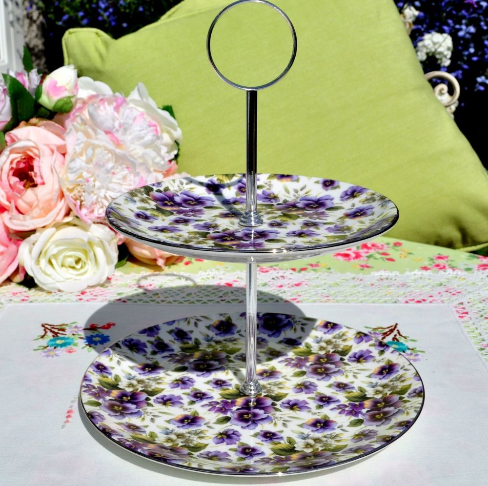 Sheltonian China Purple Pansies 2 Tier Cake Stand