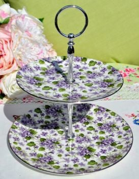 Chintz Violets Sheltonian China 2 Tier Cake Stand