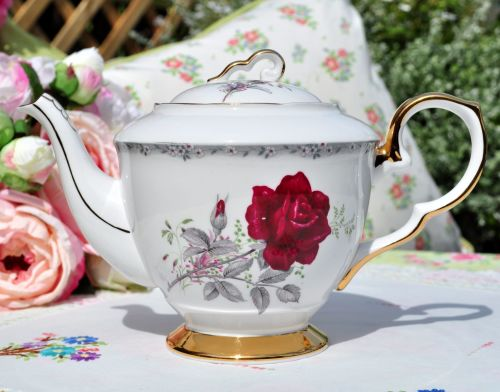 Royal Stafford Roses to Remember Bone China Vintage Teapot c.1950's