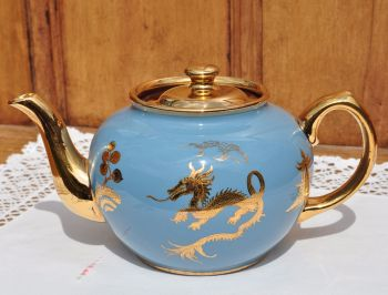 Sadler Turquoise Blue and Gold Dragons Teapot c.1940s