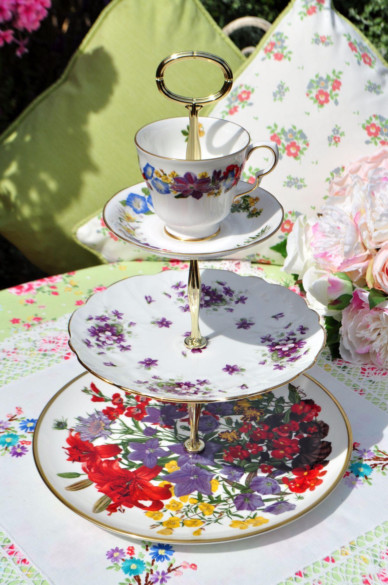 Violette Teacup Top Mismatched 3 Tier Cake Stand