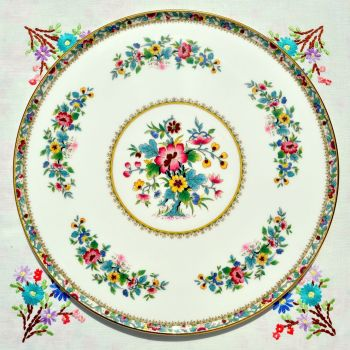 Coalport Ming Rose Pattern Gateau Serving Plate