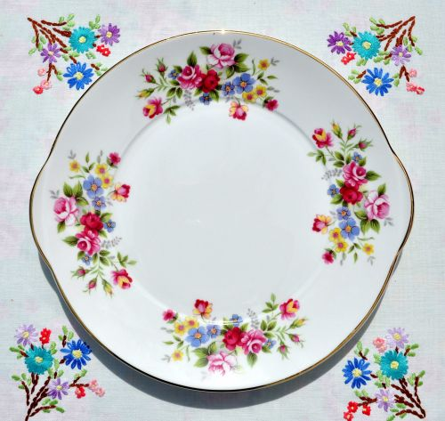 Royal Grafton Floral China Cake Plate c.1950s