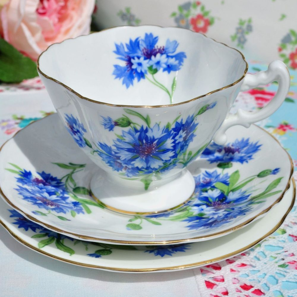 Hammersley Blue Cornflower Teacup Trio c.1940s