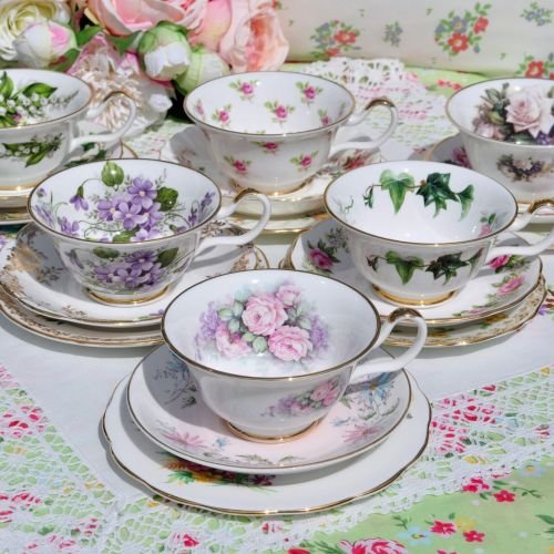 Sheltonian Eclectic Floral China Teacup Trios x 6