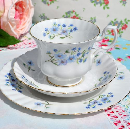 Richmond Blue Rock Vintage Bone China Teacup Trio