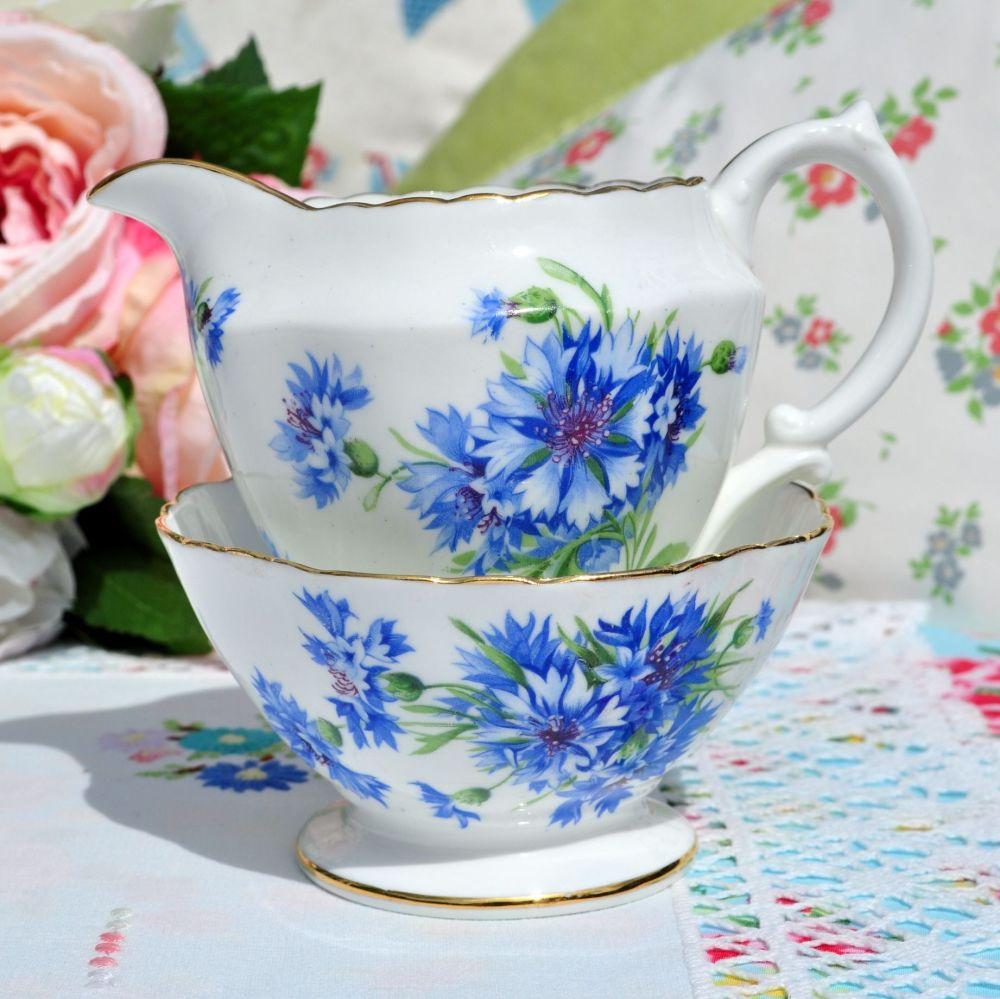 Hammersley Blue Cornflower Milk Jug and Sugar Bowl c.1940s