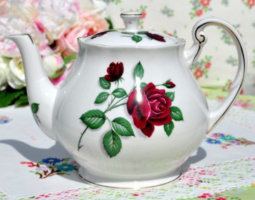 Royal Standard Red Velvet Bone China Teapot c.1950's