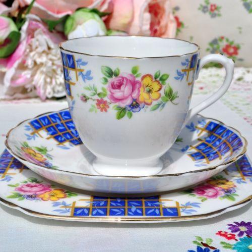 Plant Tuscan Blue Trellis Floral Teacup Trio c.1930s