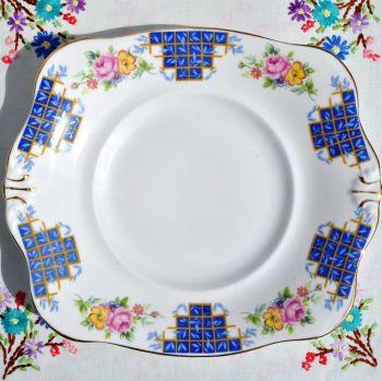 Plant Tuscan Blue Trellis Floral Cake Plate c.1930s
