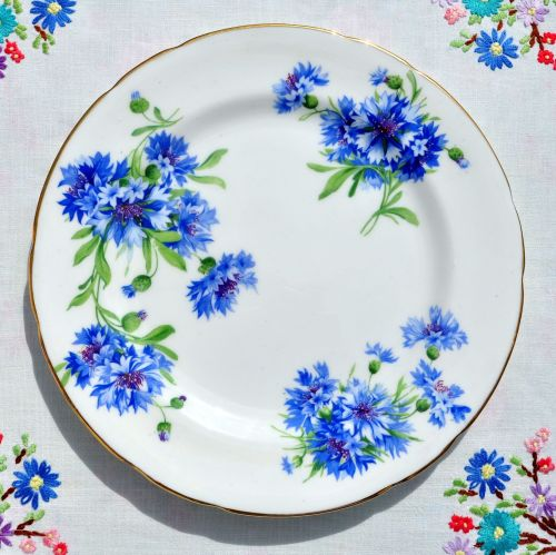 Hammersley Blue Cornflower Salad Plate  c.1940s