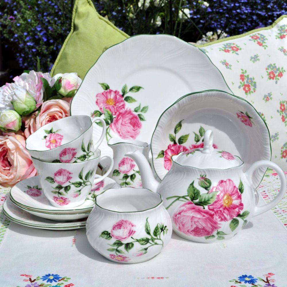 Rosina China Mottisfont Roses Two Person Breakfast Tea Set