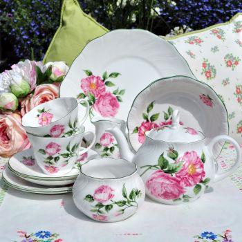 Rosina China Mottisfont Roses Two Person Breakfast Tea Set