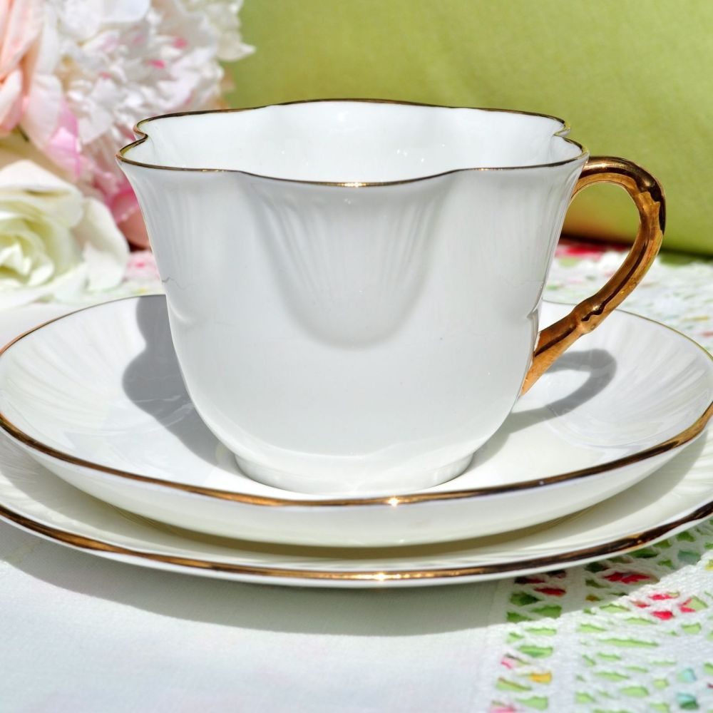 Pall Mall White and Gold Vintage Teacup Trio c.1930s