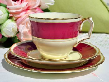 Crown Staffordshire Raspberry Cream Teacup Trio c.1930s