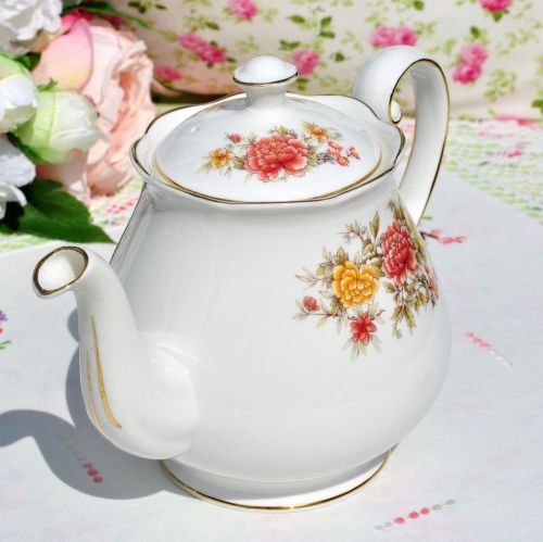 Colclough Peach and Yellow Floral Teapot c.1950s