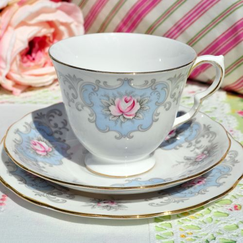 Queen Anne Pink Rose Vintage China Teacup Trio c.1960s
