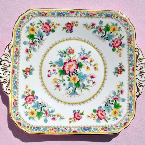 Foley Ming Rose Floral Cake Plate c.1948-63