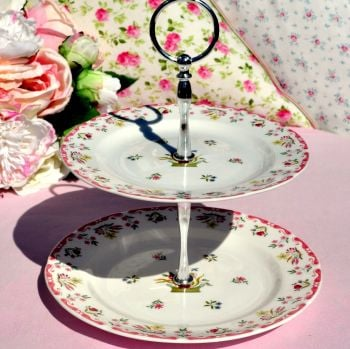 Wedgwood Bianca Contemporary 2 Tier Cake Stand