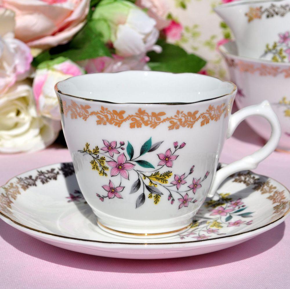 Royal Grafton Vintage Floral Teacup and Saucer c.1957+