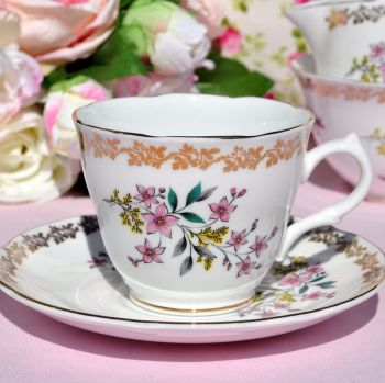 Royal Grafton Vintage Floral Teacup and Saucer c.1957+