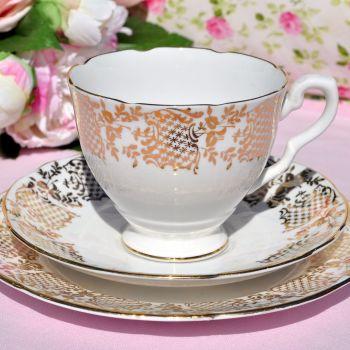 Royal Stafford Gold Filigree Vintage English China Tea Trio c.1960s