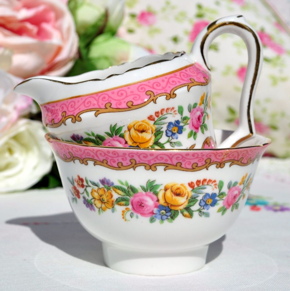 Crown Staffordshire Tunis Pink Mini Milk Jug and Sugar Bowl