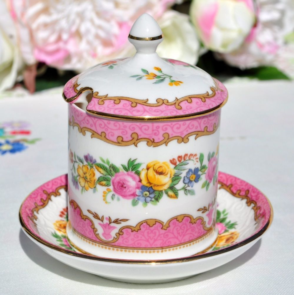 Crown Staffordshire Tunis Pink Mustard Pot and Spoon Plate