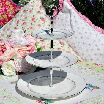 Royal Worcester Silver Chantilly 3 Tier Cake Stand