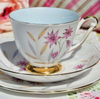 Queen Anne Meadow Vintage China Teacup Trio c.1960s