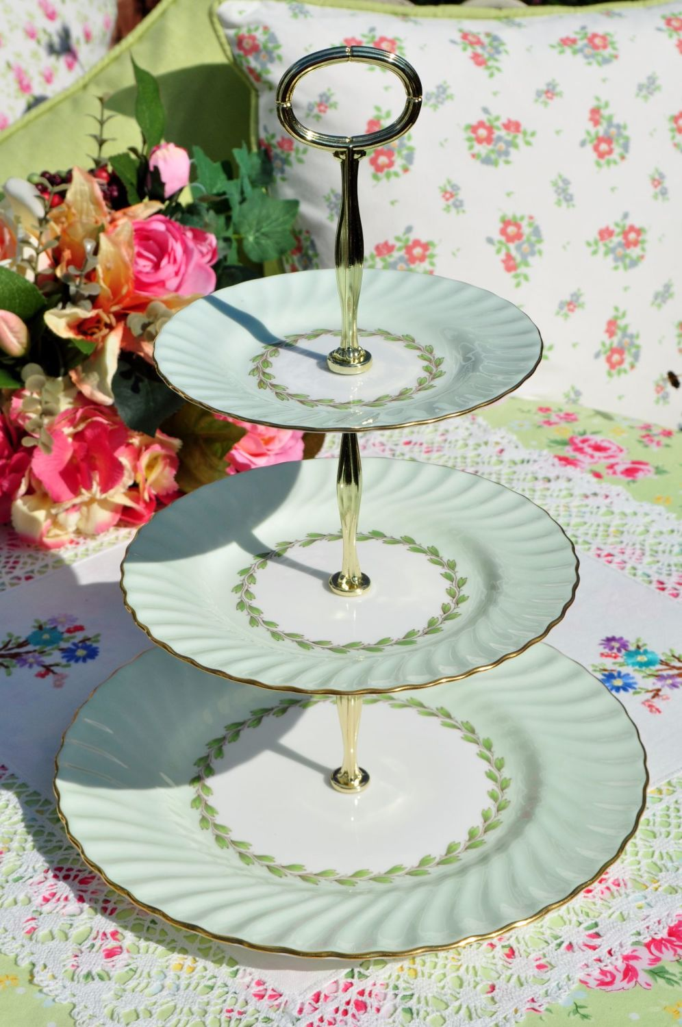 Minton Cheviot Pattern 3 Tier Cake Stand c.1960s